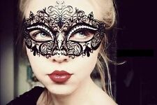 New Black Luxury Metal Filigree Laser Cut Venetian Masquerade Mask w/Rhinestones
