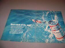 "VINTAGE..1969 BUDWEISER ""FISHING""..2-PAGE COLOR ORIGINAL SALES AD..(593K)"