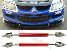Front Rear Red Bumper Protector Lip Rod Splitter Strut Tie Bars Support Kit New