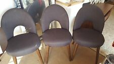 3x Bentley Designs Oslo Walnut Dining Chairs Charcoal Fabric Upholstered RRP£440