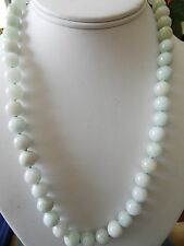 Vintage Natural  Jade Jadeite Bead Necklace with  Silver Clasp