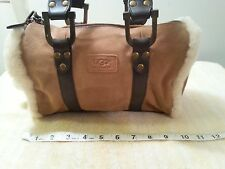 UGG  Suede W/ Leather & Fur Trim  Handbag Purse