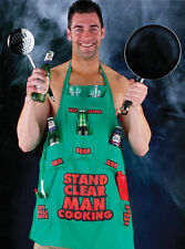 Stand Clear Man Cooking Barbecue Multi Pocket Green Apron Fun Mens Novelty Gift