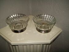 Vintage KIG & Firna Indonesia Glass Bowls with Silver Plated Base...Set of 2
