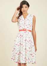 Modcloth It's an Inspired Taste A-Line Dress in Birds 1X Pink Flamingos Summer