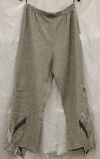 TRANSPARENTE EUROPEAN PLUS ARTSY LINEN POLYAMID POCKET PULL UP PANTS GRY ONE SZ