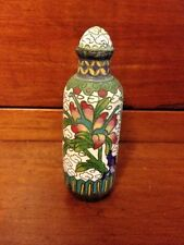 Cloisonne Chinese Snuff Bottle Colorful Antique 19th Century Floral Design Rare!
