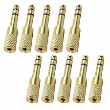 10 pcs 6.5mm Male Plug to 3.5mm Female Jack Stereo Headphone Audio Adapter Gold