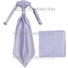 New 100% Polyester Men's Horizontal Stripes Ascot Cravat Hankie Party Lavender