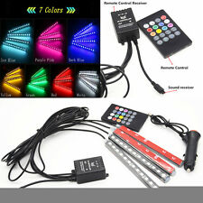 LED Colorful Sound Music Remote Control Ambient Footwell Light Car Interior Lamp