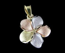 13MM SOLID 14K YELLOW ROSE WHITE TRICOLOR GOLD HAWAIIAN PLUMERIA FLOWER PENDANT