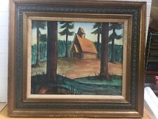 Hartwick State Park Oil Painting Chapel In The Pines Grayling Mi. Custom Frame.