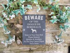 Umoristico diffidare degli DOGUE DE BORDEAUX DOG Slate Porta Cancello Placca Segno
