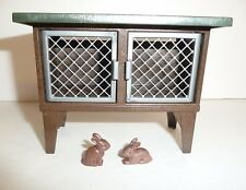 Playmobil Parts + Pieces Lot - Bunny Rabbit Hutch Brown Cage Pin