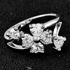Fashion White Crystal Flower Heart Wedding Ring Womens  Solid Gold Plated Size 7