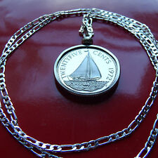 """1972 Bahamas Proof Sail Boat Coin Pendant on a 30"""" .925 Sterling Silver Chain"""