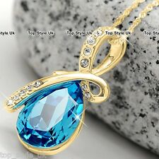 Aqua Crystal Gold Necklaces For Women Xmas Gifts for Her Mum Girls Daughter U4