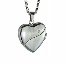 Crystal Heart Locket - Memorial Keepsake Necklace - Engraving Available