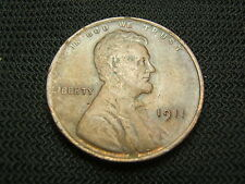 1911 AU old  Lincoln Wheat Cent US Coin early date pre WW I