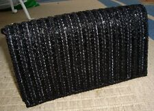 Super Vintage WALBORG Black Beaded Evening Clutch Bag Purse