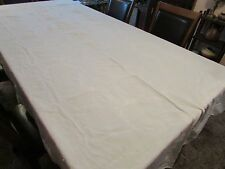 Vintage CREAM Irish ? Linen Damask Tablecloth Beautiful EMBROIDERED 120 x 60