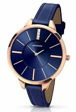 Sekonda Ladies EDIZIONI Navy Blue Stone Set Orologio con rose gold case 2144