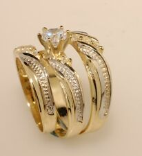 Gold  Trio Bridal Ring Wedding & Engegement Bride & groom Set Brand New