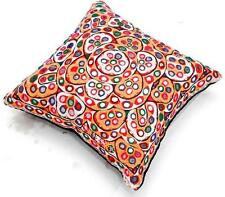 VINTAGE RABARI FINE HAND EMBROIDERY MIRROR ETHNIC TRIBAL PILLOW CUSHION