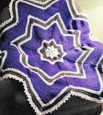 Hand-Made CROCHETED STAR-Shaped AFGHAN for BABY in PURPLE, Dark GRAY, & White