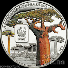 2015 Central African Republic BAOBOB TREE Colored Silver Plated COPPER Coin WWF