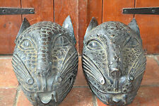 V large pair mid 20th century African tribal Benin bronze Leopard heads, c 1950