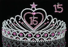 "Sweet 15 & 16 Sparkling Crystal Heart Star Pink Quinceanera 3.5"" Tiara T1523"