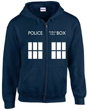 TARDIS Zipped Hoodie Sweatshirt | S-5XL | Doctor Who Inspired Fan Design | Geek