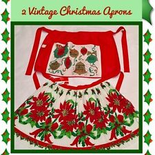 Brand New, Never Used... Vintage 1960's  *** 2 Christmas Aprons *** NEW!!!