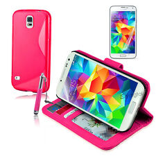 HOT PINK Wallet & Gel 4in1 Accessory Bundle Kit Case Cover For Samsung Galaxy S5