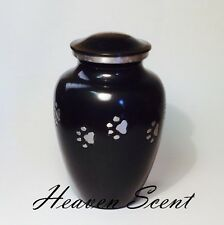 Black & Silver Pet Dog/Cat Cremation Ashes Urn Container Pawprint Design 01514P