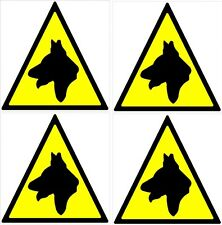 8'' Dog Warning Triangles x 4 Sticker kit Black Yellow car van decal graphic