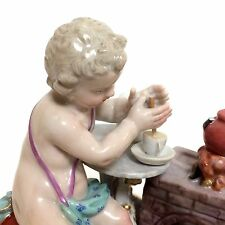 Meissen Porcelain Figurine of Putti Cherub Making Hot Chocolate Breakfast