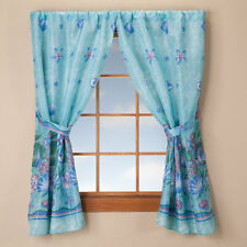 Oceanic Bathroom Window Curtain Blue Aquatic Tropical Bath Fish Seashell 3-1