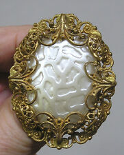 Vintage Jewelry West Germany Brooch Reticulated Cab Ornate Goldtone Framing