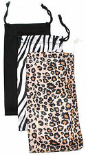3 PCS SUNGLASSES EYEGLASSES POUCH CASE BAG BLACK LEOPARD ZEBRA