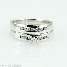 0.60 CT. DIAMOND SOLITAIRE ENGAGEMENT WEDDING BAND SET 18K WHITE GOLD RING US6