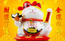 Ceramic Lucky Waving Cat Japanese Maneki Neko Chinese Feng Shui Fortune NEW 9""