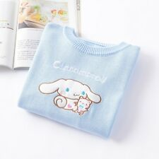 KNIT Cinnamoroll Broderie KAWAI Preppy Sweater Cotton Mori Girl Winter Lovely JP