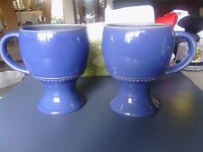 STYLE EYES BY BAUM BROTHER BLUE WITH RAISED DOTS PEDESTAL MUGS SET OF 2