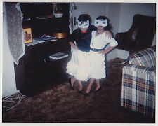 Vintage 80s PHOTO Pair Young Girls Wearing Matching Masks