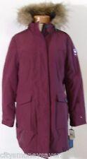 NWT Tommy Hilfiger Womens Faux Fur Hooded Ultra Loft Parka Jacket M Zinfandel