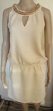 NWT Beige Embellished Chain Neck Dress size 12