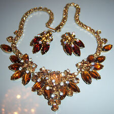 VTG JULIANA D&E COLORADO TOPAZ RHINESTONE NECKLACE EARRING SET DEMI PARURE