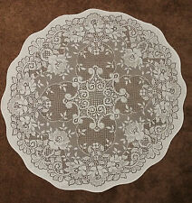Battenburg Lace Tablecloth Table Topper 32 Round White Cotton Floral Pattern
